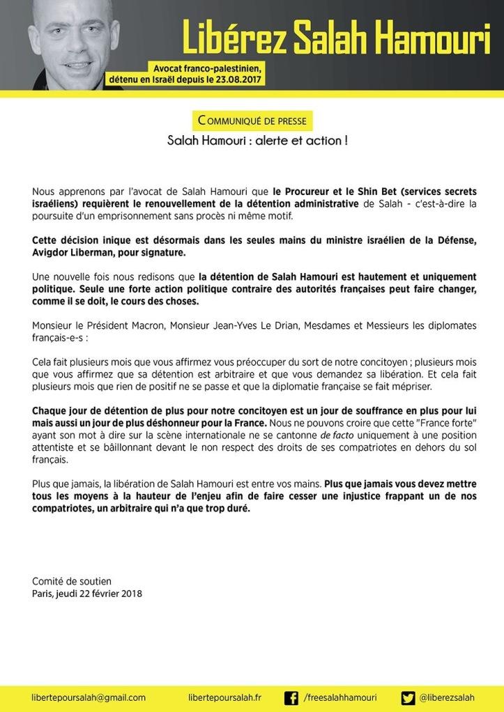 communiqué comité national_ alerte et action_22 février 2018