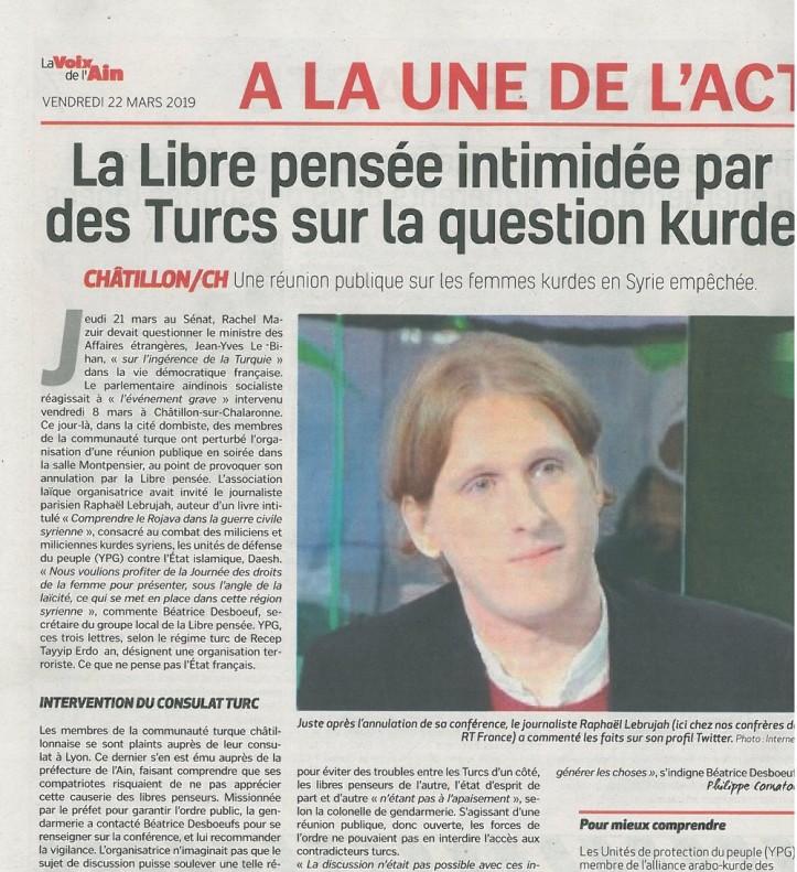 article de LA VOIX DE L'AIN parue le 22 03 19